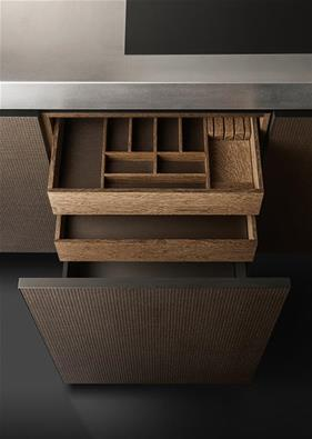 Image of the wooden drawer from the Armani Bridge kitchen