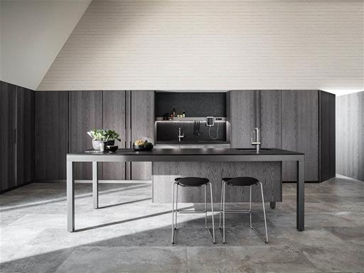 one of the best modern italian kitchens Banco kitchen by Luca Meda made in steel with a grey palette