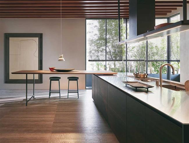 Dada Kitchen Hi Line 6 Frame Door stainless steel countertop pewter oak Woody stool lacquer columns