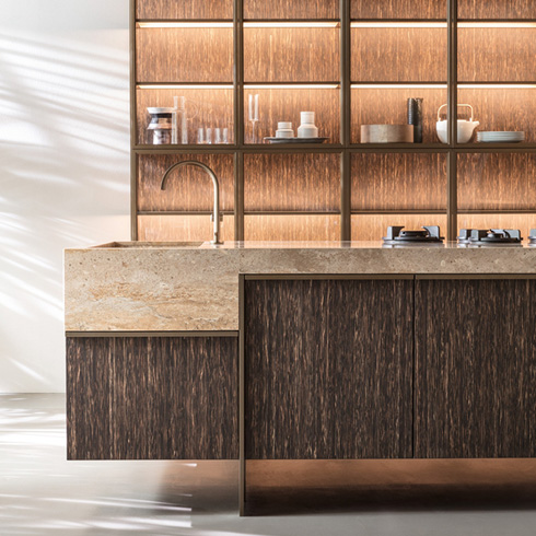 Ratio Dada contemporary modular kitchen Vincent Van Duysen cupboard black palm wood Rapolano marble